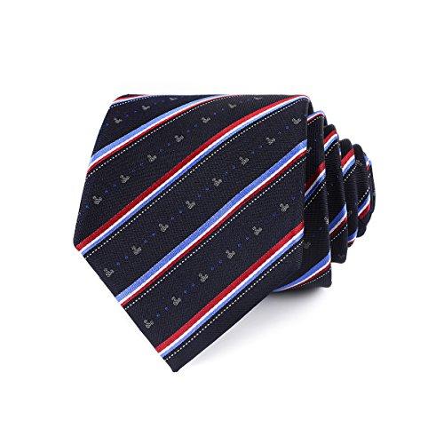 LUISDAN Stripe Tie Jacquard Woven Microfiber Formal Men's Neckties - Various Styles (Mickey Stripe) (Mickey Mouse Ties For Boys)