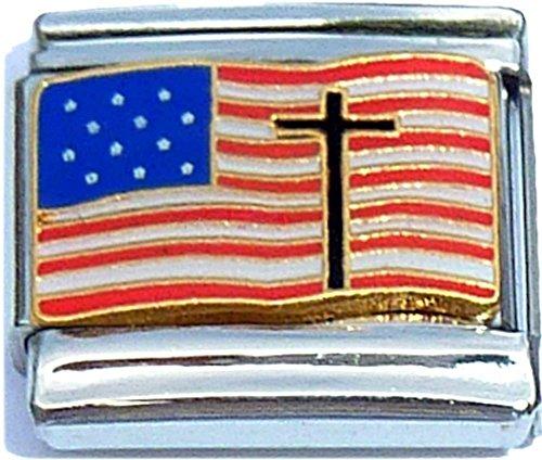 American Flag With Cross Italian Charm