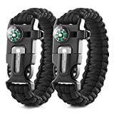 X-Plore Gear Emergency Paracord Bracelets | Set Of 2| The ULTIMATE Tactical Survival Gear| Flint Fire Starter, Whistle, Compass & Scraper/Knife| BEST Wilderness Survival-Kit -- Black(R)/Black(R)