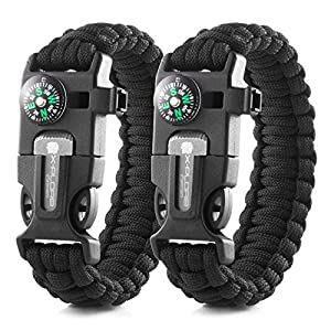 X-Plore Gear Emergency Paracord Bracelets | Set Of 2| The ULTIMATE Tactical Survival Gear| Flint Fire Starter, Whistle, Compass & Scraper | BEST Wilderness Survival-Kit - Black(M)/Black(M)