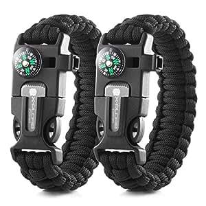 X-Plore Gear Emergency Paracord Bracelets | Set Of 2| The ULTIMATE Tactical Survival Gear| Flint Fire Starter, Whistle, Compass & Scraper/Knife| BEST Wilderness Survival-Kit - Black(K)/Black(K)