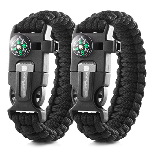 X-Plore Gear Emergency Paracord Bracelets | Set Of 2| The ULTIMATE Tactical Survival Gear| Flint Fire Starter, Whistle, Compass & Scraper/Knife| BEST Wilderness Survival-Kit -- Black(R)/Black(R)