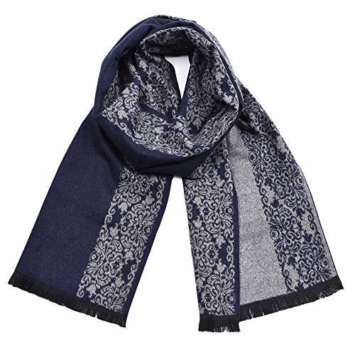(Bolayu Fashion Men Winter Classic Shawl Fringe Print Floral Tassel Long Soft Warm Scarf (Navy))