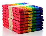 #2: COMEBO 400PCS Multicolor Serrated Craft Stick Wooden Popsicle Sticks for DIY Handmade Crafts 4.5 Inch