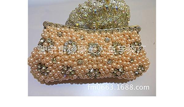 FYios Perla Satinado Bolsa de Maquillaje artesanales Diamante Perla Satinado Bordadas Bolso Novia Moda Bolsa Bolsa de cosméticos,Color Champagne: Amazon.es: ...