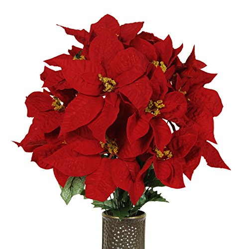 Red Poinsettia Artificial Bouquet, featuring the Stay-In-...