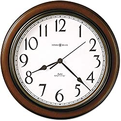 Howard Miller Talon Wall Clock 625-417 - Round, Cherry Finish with Auto Daylight Savings Time