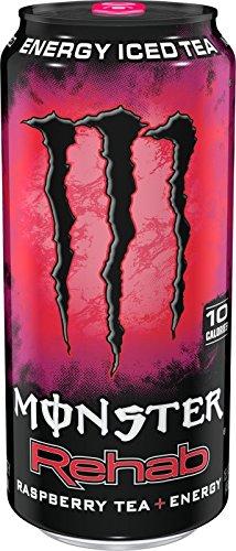 Monster Rehab Tea + Energy Drinks 6 - 15.5oz Cans (Raspberry)