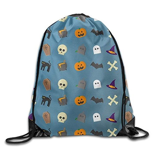 Ashley Lauren Mia Fantasy Halloween Cats Pumpkin Bat Pattern Print Eco-Friendly Drawstring Backpack Rucksack Shoulder Bags Gym Bag Sport Bag,Easy To Carry,Light -