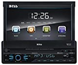 BOSS AUDIO BV9967B Single-DIN 7 inch Motorized Touchscreen DVD Player Receiver, Bluetooth, Detachable Front Panel, Wireless Remote