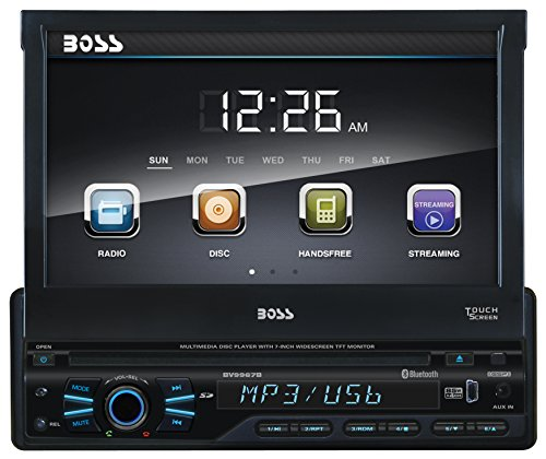 BOSS Audio BV9967B Single Din, Touchscreen, Bluetooth, DVD/CD/MP3/USB/SD AM/FM Car Stereo, 7 Inch Digital LCD Monitor, Detachable Front Panel, Wireless Remote by BOSS Audio