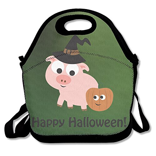 Hoeless Happy Halloween Insulated Lunch Tote With Zipper,Carry Handle And Shoulder Strap For Adults Or Kids Black