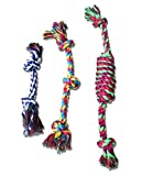 Dog Chew Rope Toys Knotted Clean Teeth Cotton for Aggressive Chewers Pack of 3 (Blue-White)