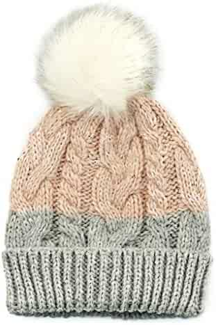 ff6b6d9618b13 accsa Kid Girl Pink Sequin Cable Knit Fur Pompom Beanie Hat with Rib Turn-up