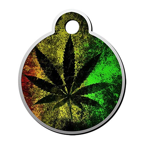 BSARRE Custom ID Pet Tag Double Sided Stainless Steel Necklaces Dog Tag Round Weed Red Yellow Green (Weed Sonnenbrille)