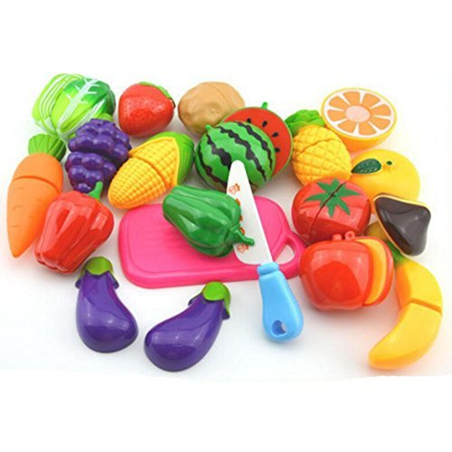 (Funslane Play Food Set for Kids, 18 Pcs Pretend Play Food Cutting Kitchen Food Fruits and Vegetables)
