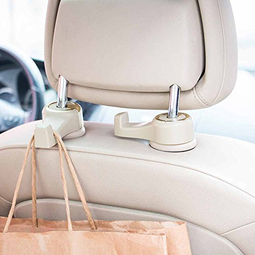 Wholesale HANTAJANSS Car Seat Back Hooks for Car Organized to Hold Heavy Backpack or Multi bags of Groceries Vehicle Back Seat Headrest Hanger Pack of 2 (Beige) for sale