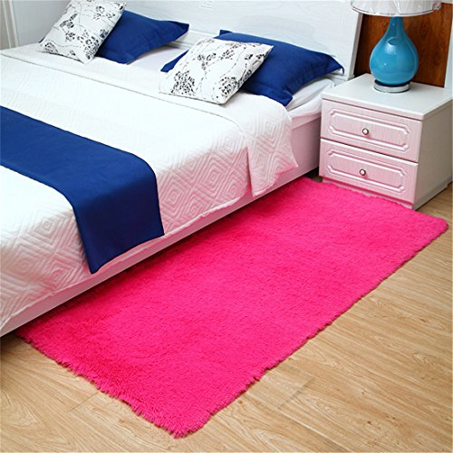 Hot Pink Carpet (4.5cm Thick Area Rugs Bedroom Rugs Living Room Carpets Kitchen Rugs Soft Non Slip Door Mat Hot)