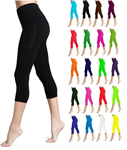 Lush Moda Seamless Capri Length Basic Cropped Leggings - Variety of Colors - Black OS