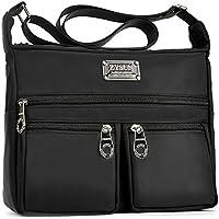 ZYSUN Water Resistant Lightweight Nylon Crossbody 6 Pockets Bags for Women (Black)