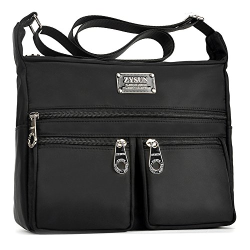 Black Crossbody Bag,Adjustable Shoulder Strap Handbags with Multiple Zippered Bag by ZYSUN