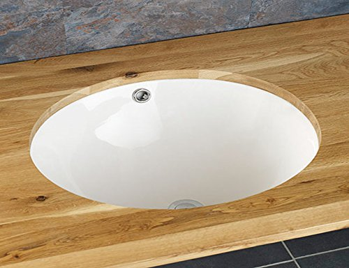 Clickbasin Lordelo 49cm By 40cm Oval Undercounter Inset Ceramic Washbasin