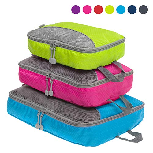 Packing Cubes Set for Travel - Durable 3 Piece Travel Organizer Bundle for Travel, Small, Medium, Large - Australian Brand (Multicolor)