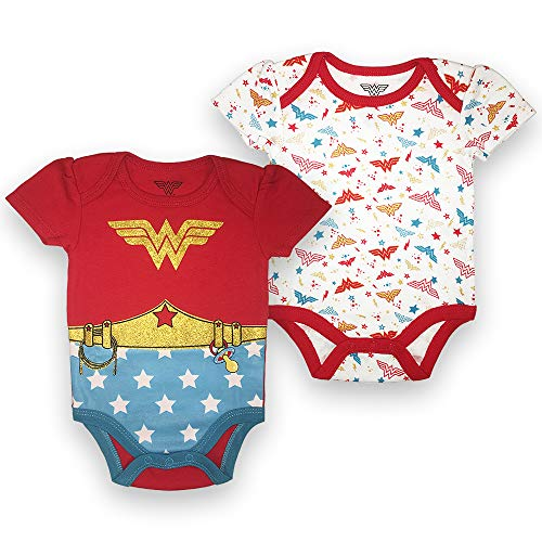 Wonder Woman Onsie (Wonder Woman Baby Girls Newborn Infant 2 Pack Snap Bodysuit Red and White 6-9)