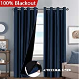 long thermal curtains - 100% Blackout Extra Long Lined Curtains Faux Silk Thermal Insulated with Black Liner Backing Window Treatment 2 Panels for Bedroom, W52 x L108 inch - Navy