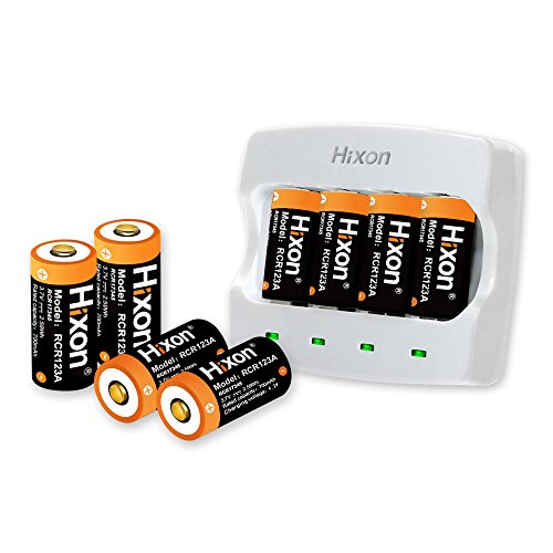 Rechargeable RCR123A Arlo Batteries(8pcs) and Charger, Hixon 700mAh RCR123A Protected Li-ion Battery and Quick Charger for Arlo HD Security Cameras, UN CE Certified (Replacement Battery Camcorder Rechargeable)