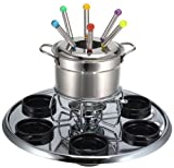 Roshco 16-Piece Stainless Steel Lazy Susan Fondue Set