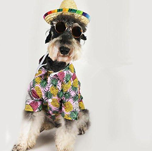 BRZM Elegante y Transpirable Ropa para Mascotas Fina Playa Estilo piña Camisa Gato Ropa para Perros XL: Amazon.es: Productos para mascotas