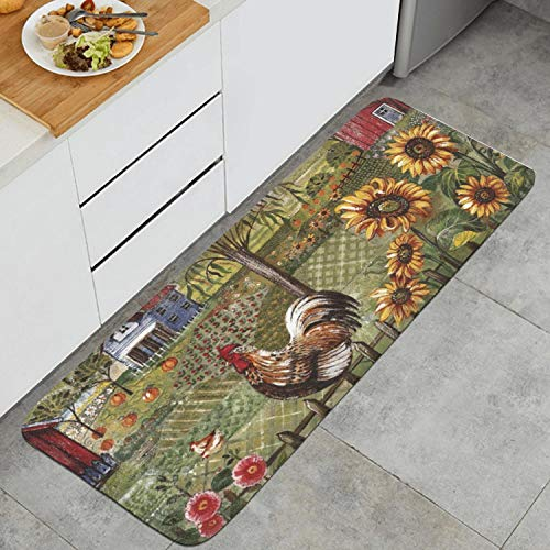 Kitchen Mat Kitchen Rugs Cushioned Chef Soft Non-Slip Rubber Back Floor Mats Washable Oil Proof Doormat Bathroom Runner Area Rug Carpet (17.7
