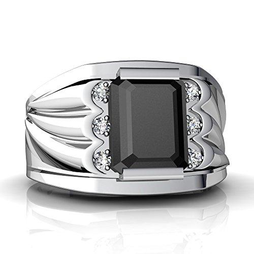 14kt White Gold Black Onyx and Diamond 9x7mm Emerald_Cut Men