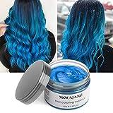 MOFAJANG Hair Color Wax, Instant Blue Unisex Hair Dye Wax 4.23 oz, Temporary Hairstyle Cream Hair Pomades Styling Hair Wax Party Cosplay Bar(Blue)