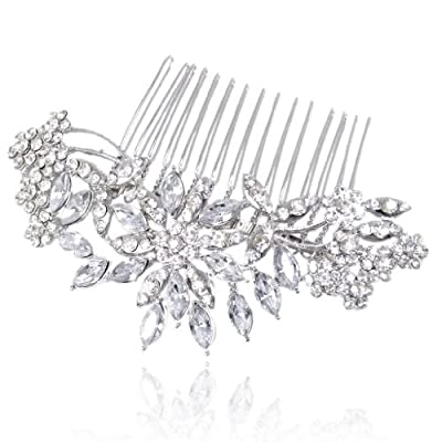 EVER FAITH® Bridal Flower Snowflake Hair Comb Clear Austrian Crystal