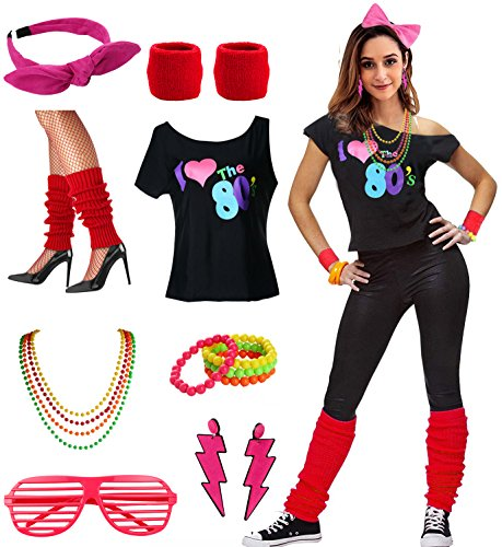 Womens I Love The 80's Disco 80s Costume