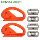 EEFUN Snitty Safety Cutter Car Vinyl Wrap Cutting Tool Carbon Fiber Cutting Application Knife,2×Snitty with 4× Blade