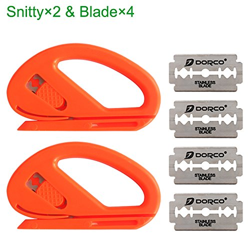 Safety Wrap - EEFUN Snitty Safety Cutter Car Vinyl Wrap Cutting Tool Carbon Fiber Cutting Application Knife,2×Snitty with 4× Blade