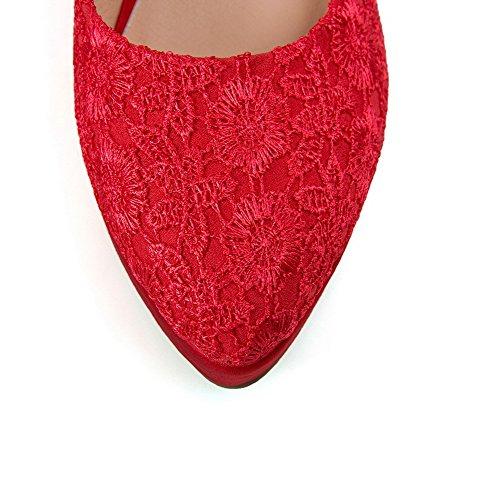 AllhqFashion Damen Lesbie Hoher Absatz Spitz Zehe Rein Ziehen auf Pumps Schuhe Rot
