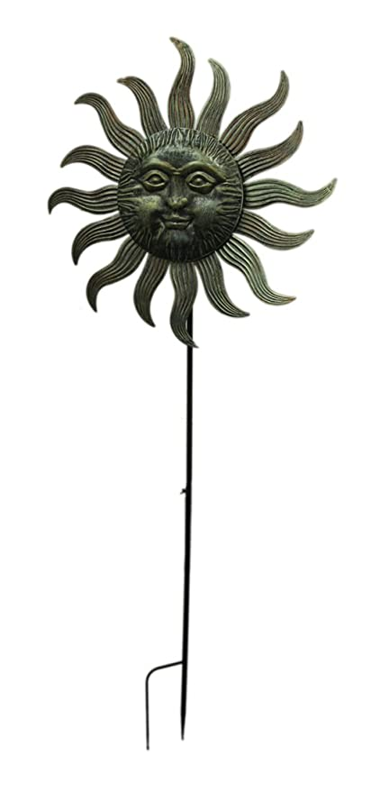 zeckos metal garden stakes 77x27 metal sun face spinner 29 x 76 x - Metal Garden Stakes