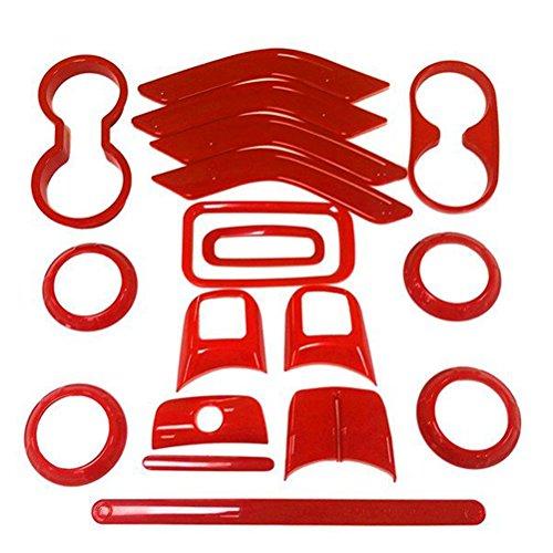 Trim Cover Set (E-cowlboy 18 PCS Full Set Interior Decoration Trim Kit,Interior Door Handle Cover Trim,Air Conditioning Vent Cover Trim, Copilot Handle Cover Trim,,For Jeep Wrangler JK JKU 2011-2016 4-door(Red))