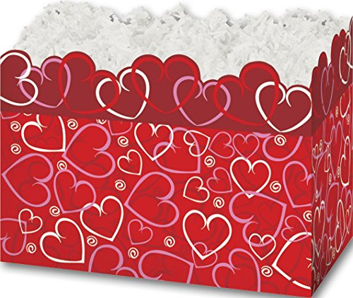 (Patterned Specialty & Event Boxes - Layered Hearts Gift Basket Boxes, 6 3/4 x 4 x 5