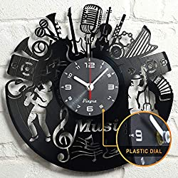 Vinyl Record Music Design Clock Music Wall Art Vinyl Record Clock Home Art Music Lover Gift Vintage Decor Handcrafted Retro Wall Decorations Birthday -Singer Gift Idea - Music Wall Decor - Black