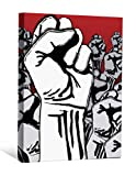 JP London DDCNV0044 Ready to Hang Feature Wall Art 2'' Thick Heavyweight Gallery Wrap Canvas Fight the Power the Fist Graffiti At 60'' High by 40'' Wide