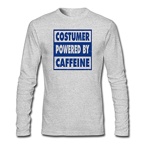 [SYBING Men's Costumer Powered By Caffeine Long Sleeve T-Shirt] (Costumers With A Cause)