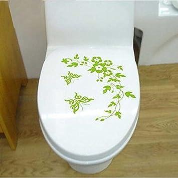 Amazondiy 緑のトイレシート壁ステッカーステッカー壁紙取り外し可能な