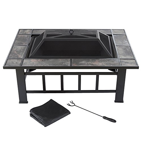 "Pure Garden Fire Pit Set, Wood Burning Pit -Includes Screen, Cover and Log Poker- Great for Outdoor and Patio, 37"" Marble Tile Rectangular Firepit by"