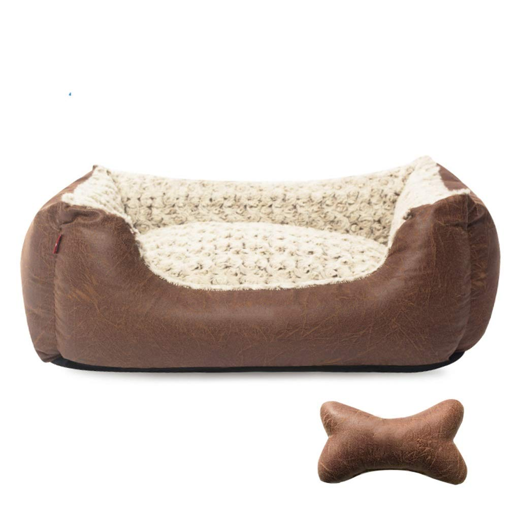 BROWN XlLuxury Faux Leather Soft Fur Fleece Large Dog Bed Pet Cat Basket (color   BROWN, Size   Xl)