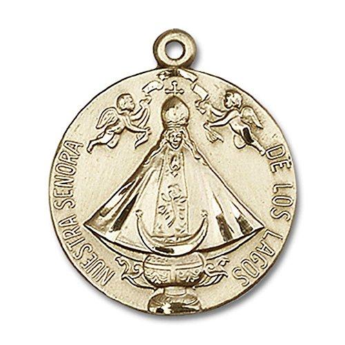Bonyak Jewelry 14kt Yellow Gold Senora de Los Lagos Medal 1 x 7/8 - Los Medal De Lagos
